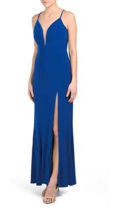 High Slit Deep V Neck Gown