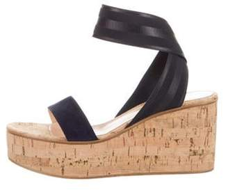 Gianvito Rossi Suede Cork Wedge Sandals Blue Suede Cork Wedge Sandals