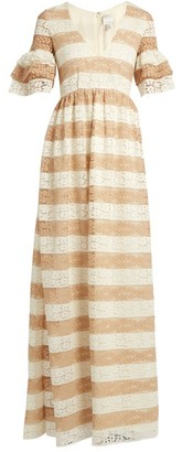 BEIGE Huishan Zhang - Cora V Neck Striped Floral Lace Gown - Womens White