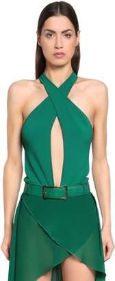 Elie Saab Crisscrossing Viscose Knit Bodysuit