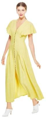 Lela Rose Speckled Cloque V-Neck Flounce Sleeve Dress
