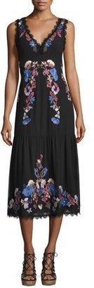 Nanette Lepore Sleeveleess Embroidered Chiffon Midi Dress, Black/Multicolor $548 thestylecure.com