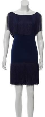 Marchesa Fringe-Trimmed Silk Dress