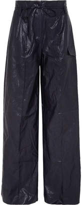 REJINA PYO - Eve Crinkled Faux Leather Wide-leg Pants - Navy