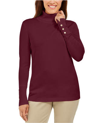 JM Collection Stud-Sleeve Pullover Turtleneck Sweater