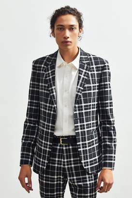 Urban Outfitters Plaid Skinny Fit Single Breasted Suit Blazer