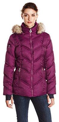 Nautica Women's Short Puffer Coat with Faux Fur Trim Hood $70.61 thestylecure.com