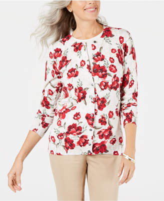 Karen Scott Floral-Print Cardigan Sweater