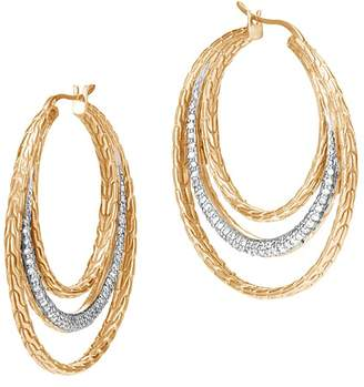 John Hardy 18K Yellow Gold Classic Chain Pavé Diamond Medium Hoop Earrings