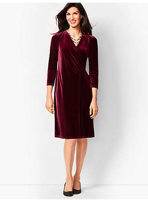 Talbots Velvet Faux-Wrap Sheath Dress