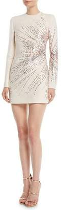 Valentino Long-Sleeve Starburst-Sequin Crepe Couture Mini Dress