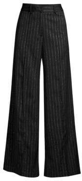 Milly Hayden Metallic Pinstripe Wide-Leg Pants