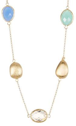 Rivka Friedman Pebble, Mint Chalcedony, Blue Chalcedony & Rock Crystal Satin Finish Necklace