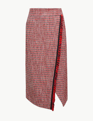 Marks and Spencer Checked Pencil Midi Skirt