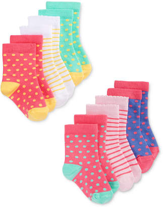 First Impressions Baby Girls 6-Pack Print & Dot Crew Socks, Created for Macy's