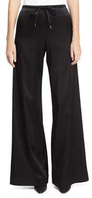 McQ Wide-Leg Casual Sateen Pants, Black