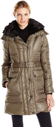Vince Camuto Women's Belted Down Coat with Utility Pockets and Faux Fur Collar