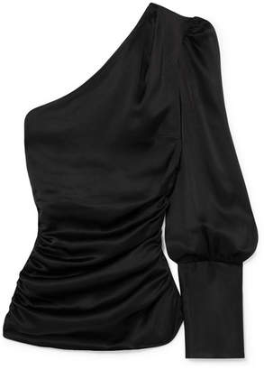 Maggie Marilyn - A Little After Ten One-shoulder Ruched Silk-satin Top - Black