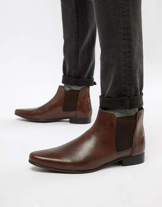 Asos DESIGN Chelsea Boots in Brown Leather With Back Pull