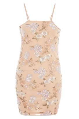 Quiz Nude And Lilac Floral Embroidered Mini Dress