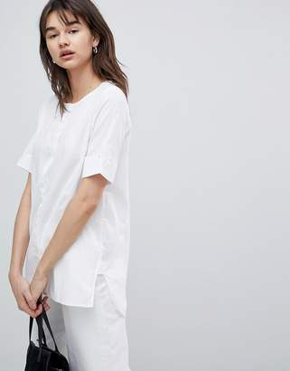Selected Blouse With Sleeve Turn Up