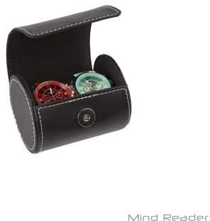 Mind Reader Watch Box Organizer Case, Fits 2 Watches, Mens Jewelry Storage, PU Leather, Black