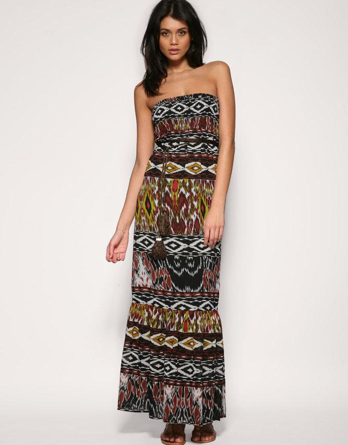 Pepe Jeans Tribal Printed Sheered Bandeau Maxi Dress
