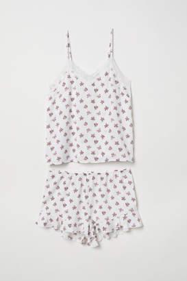 H&M Pajama Top and Shorts - White