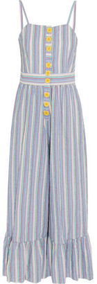 See by Chloe Striped Cotton-seersucker Jumpsuit - Blue