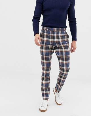 Asos Design DESIGN skinny smart trousers in navy wool mix check