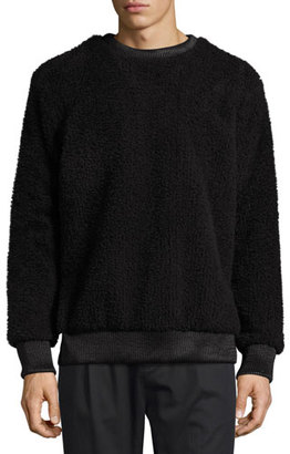 Helmut Lang Faux-Sherpa Crew Neck Sweater w/Leather Trim $655 thestylecure.com