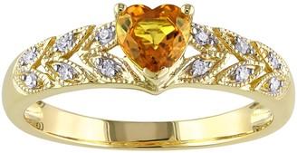 Stella Grace Yellow Sapphire & Diamond Accent 10k Gold Heart Ring