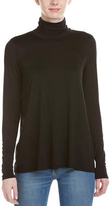 Three Dots Relaxed High-Low Turtleneck Top