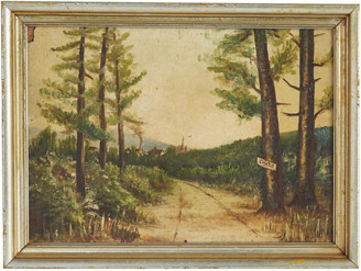 Rejuvenation Original Oil Painting of Country Road w/ Painted Frame