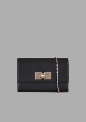 Giorgio Armani Leather Wallet Mini-Bag With Chain Strap And Twist Lock