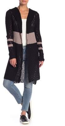 Sweet Romeo Stripe Open Knit Hooded Cardigan