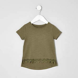 River Island Mini girls khaki green crochet hem T-shirt