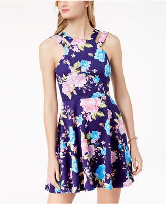 B. Darlin Juniors' Printed Double-Strap Fit & Flare Dress