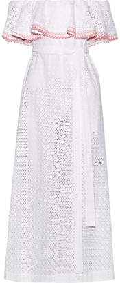 Lisa Marie Fernandez Mira Off-the-shoulder Rickrack-trimmed Broderie Anglaise Cotton Midi Dress - White