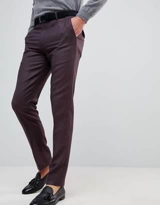 Asos Skinny Smart Pants In Burgundy 100% Merino Wool