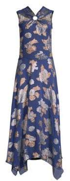 Yigal Azrouel Metallic Floral-Print Halter Maxi Dress