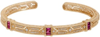 Judith Ripka 14K Gold Gemstone & Diamond Estate Cuff