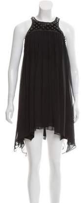 Thomas Wylde Silk Studded Mini Dress Black Silk Studded Mini Dress