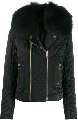 Balmain collared quilted jacket