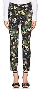 Erdem Women's Sidney Floral Cotton Slim Trousers - Black Multi