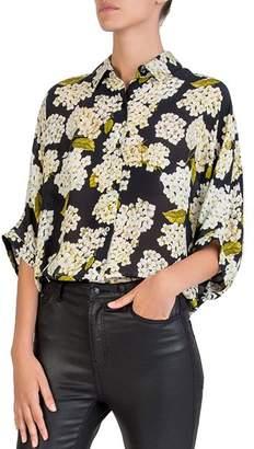 The Kooples Silk Hortensia-Print Shirt