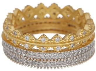 Freida Rothman 14K Gold Vermeil Harlequin Edge CZ Ring Set - Set of 3 - Size 8