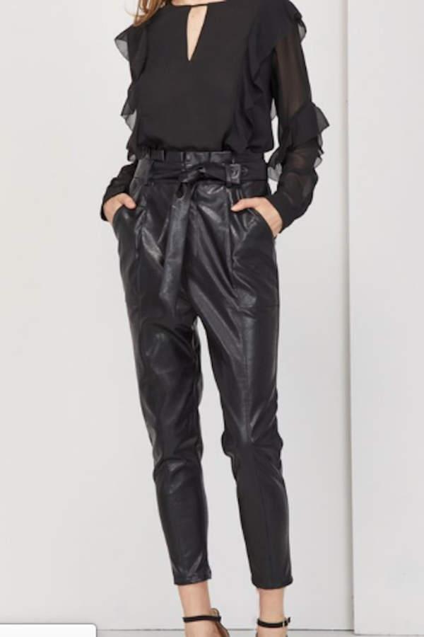 Vegan Leather Paper Waist Pant