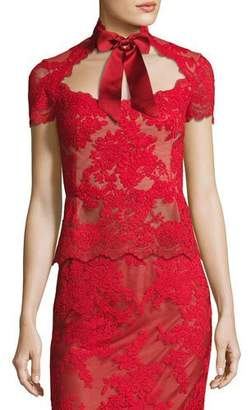 Marchesa Lace Top with Satin Necktie
