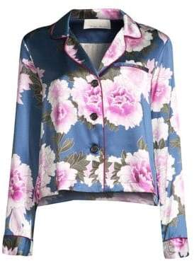 Fleur Du Mal Floral-Print Silk Satin Pajama Top